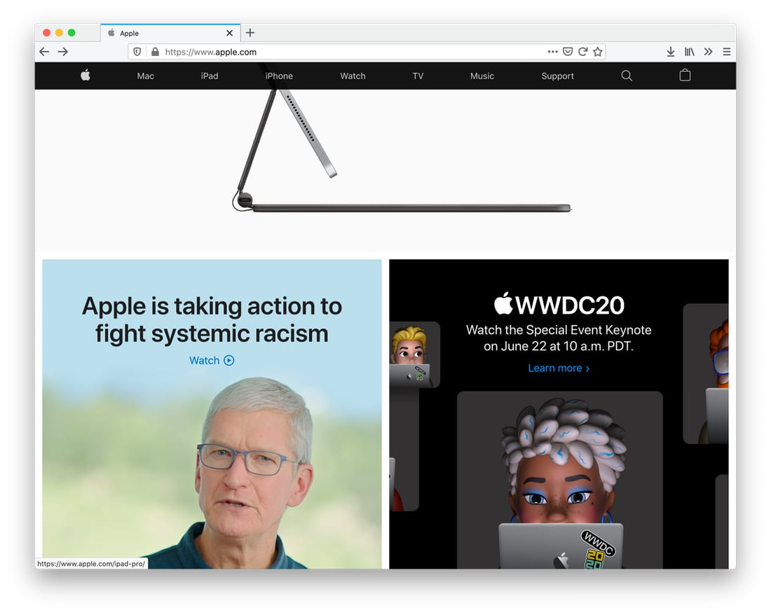 main page on apple.com